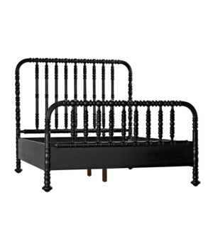 Bachelor Bed, Queen, Hand Rubbed Black