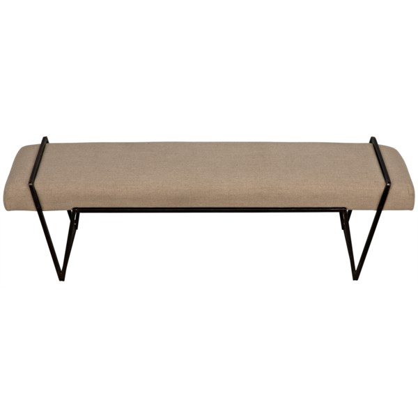 Larkin Bench, Metal with Linen