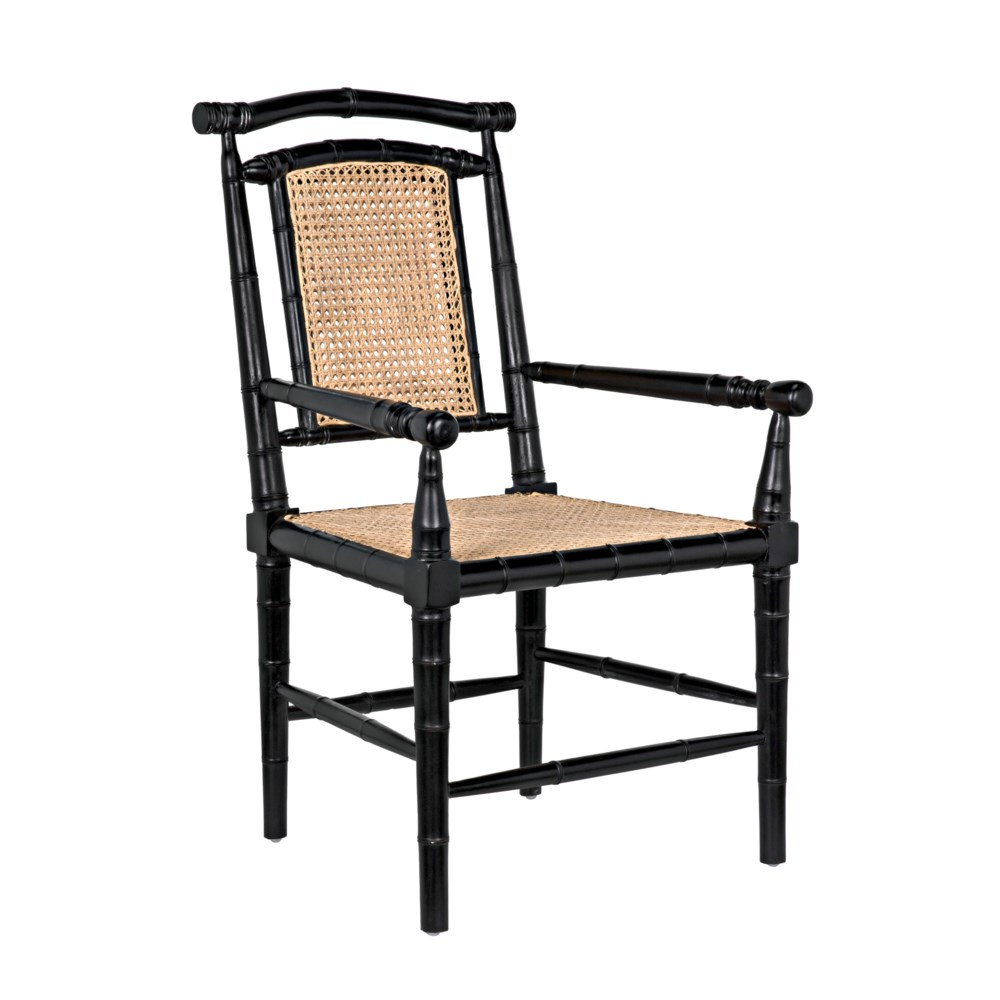 Colonial Bamboo Arm Chair, Hand Rubbed Black