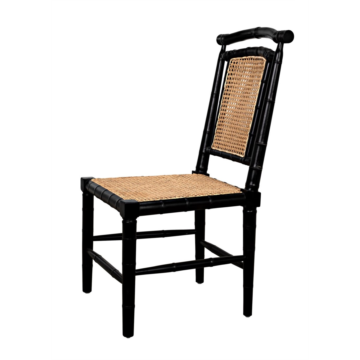 Colonial Bamboo Side Chair, Hand Rubbed Black