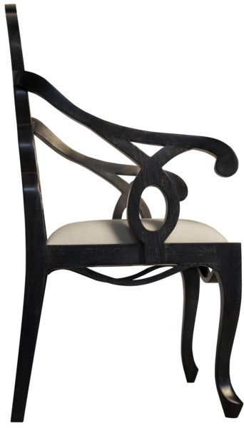 Cesara Arm Chair, Hand Rubbed Black