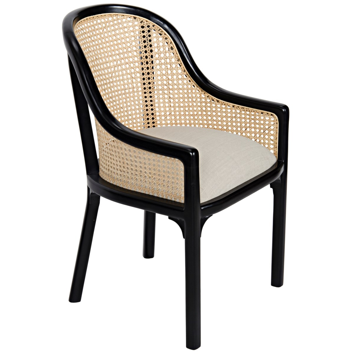 Gaston Chair with Caning, Hand Rubbed Black, Linen