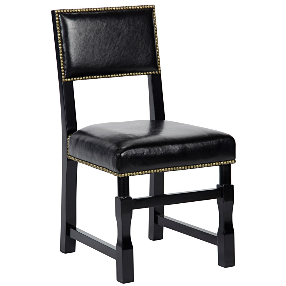Abadon Side Chair with Leather, Distressed Black