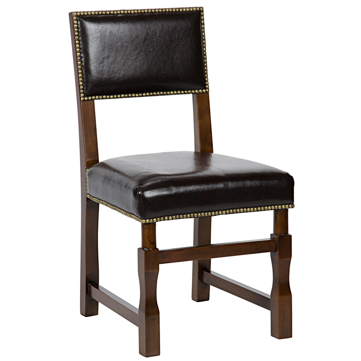 Abadon Side Chair with Leather, Distressed Brown