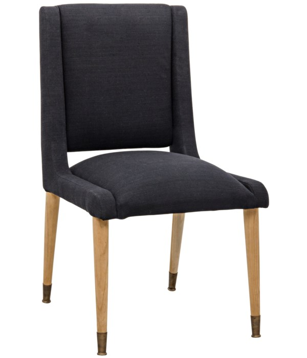 Lino Dining Chair, Teak with Black Woven Fabric