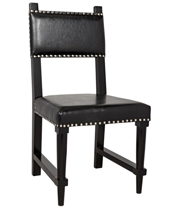 Kerouac Chair with Leather, Distressed Black