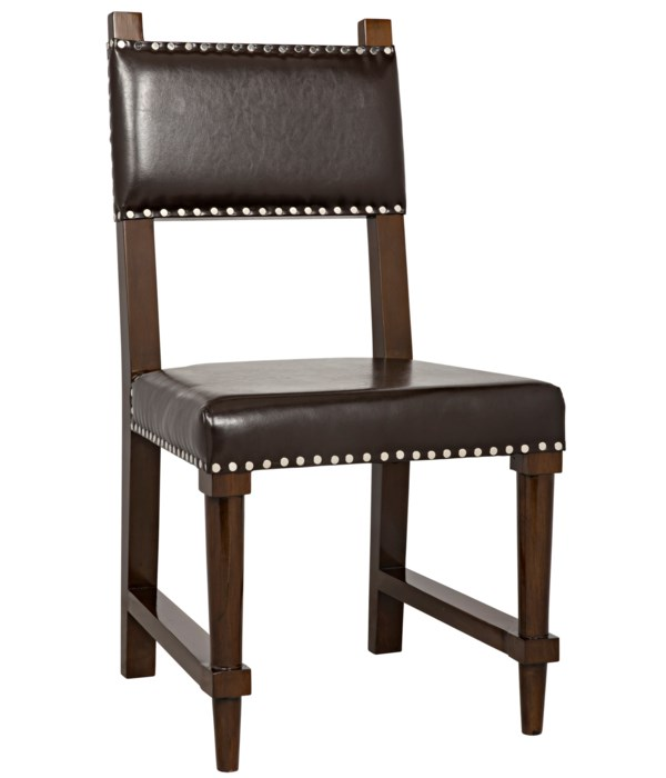 Kerouac Chair with Leather, Distressed Brown