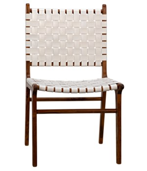 Dede Dining Chair, Teak/White Leather