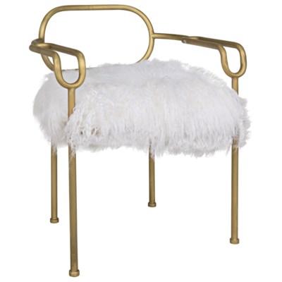 Indira Chair, Antique Brass, Flokati