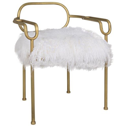 Indira Chair, Antique Brass, Flokati