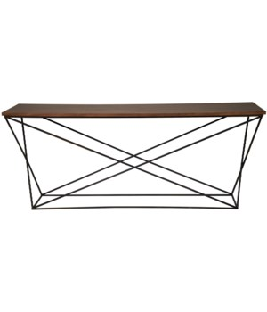 Black Metal X Base Console with Walnut Top
