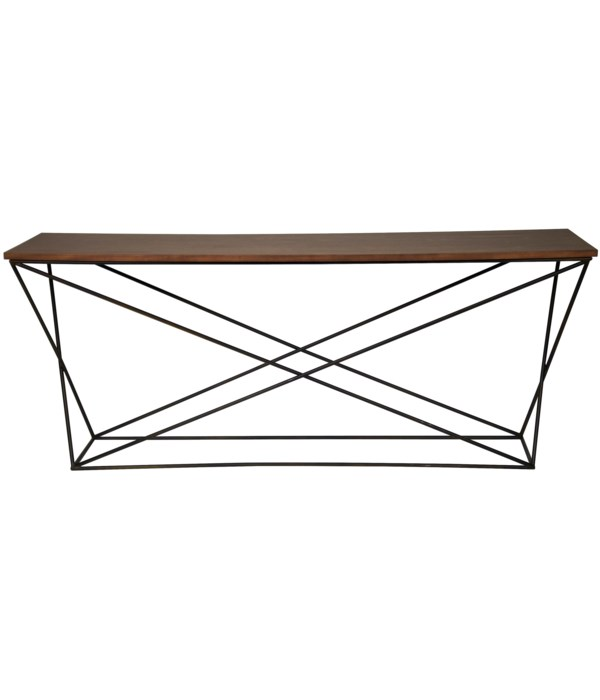 Black Steel X Base Console with Walnut Top