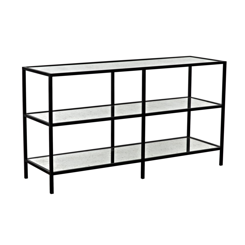 3 Tier Console with Antique Glass, Black Steel Finish