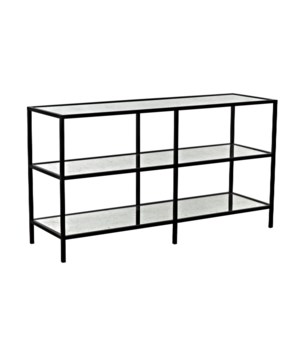 3 Tier Console with Antique Glass, Black Metal Finish