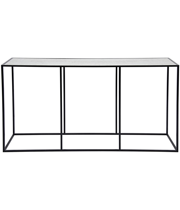 Convention Sofa Table Black Steel and Antique Glass