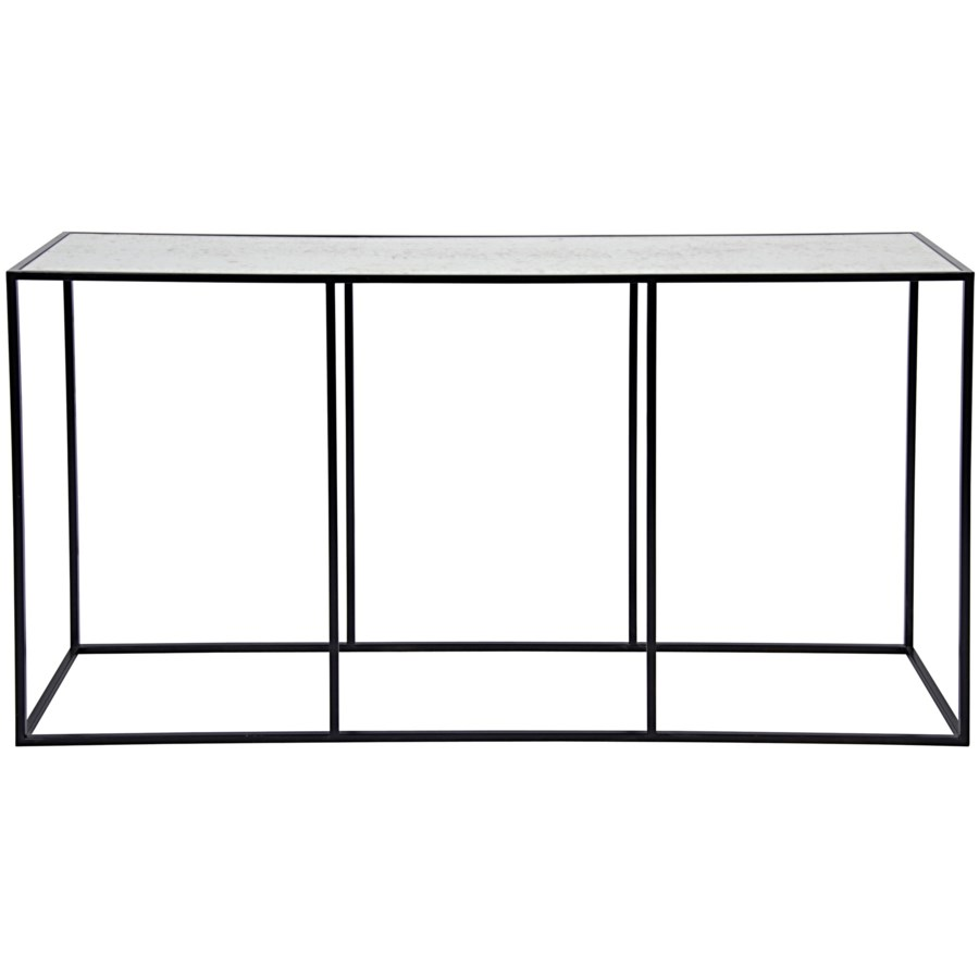 Convention Sofa Table Black Metal and Antique Glass