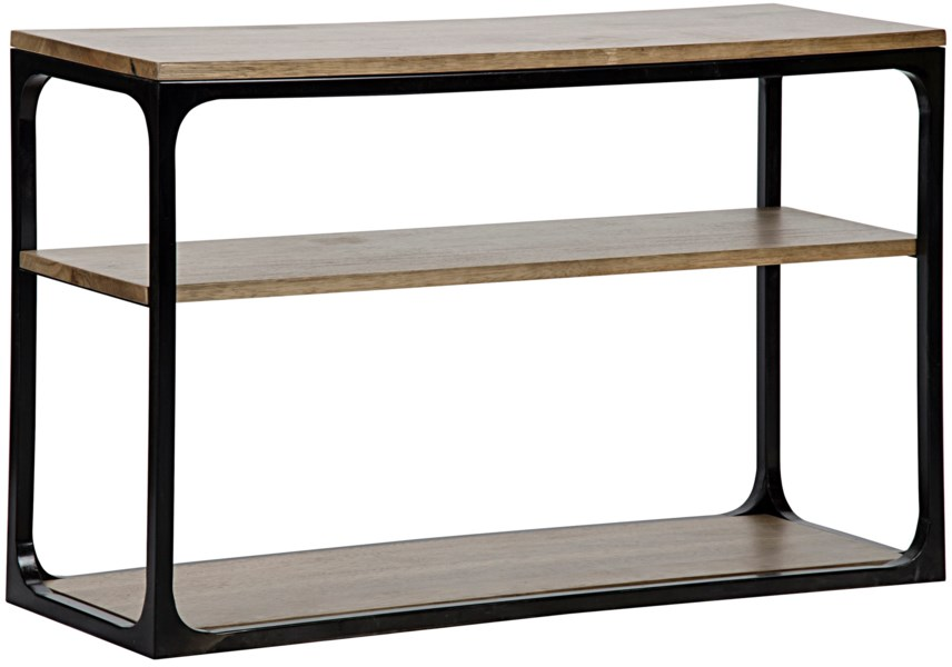 Novie Console, Small, Dark Walnut, Walnut and Metal