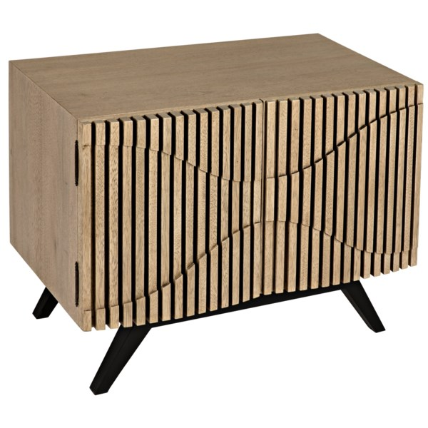 Illusion Single Sideboard with Metal Base, Bleached Walnut