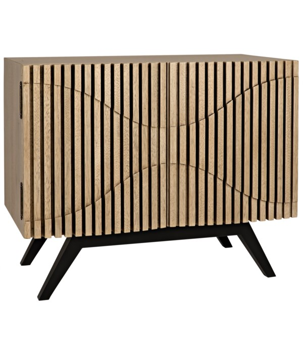 Illusion Single Sideboard with Steel Base, Bleached Walnut