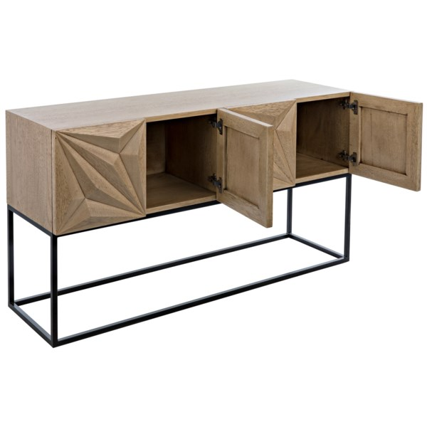 Zurich Console, Bleached Walnut with Metal
