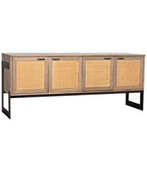 Naomi Sideboard, Washed Walnut with Rattan