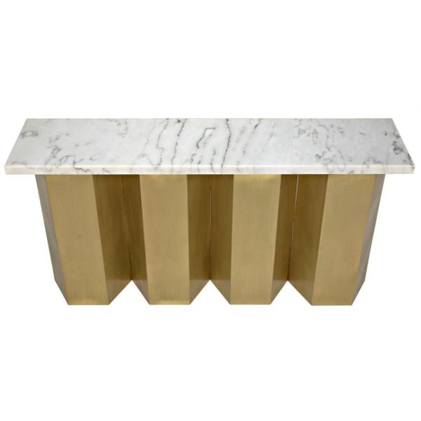 Shilo Console, Metal and White Stone