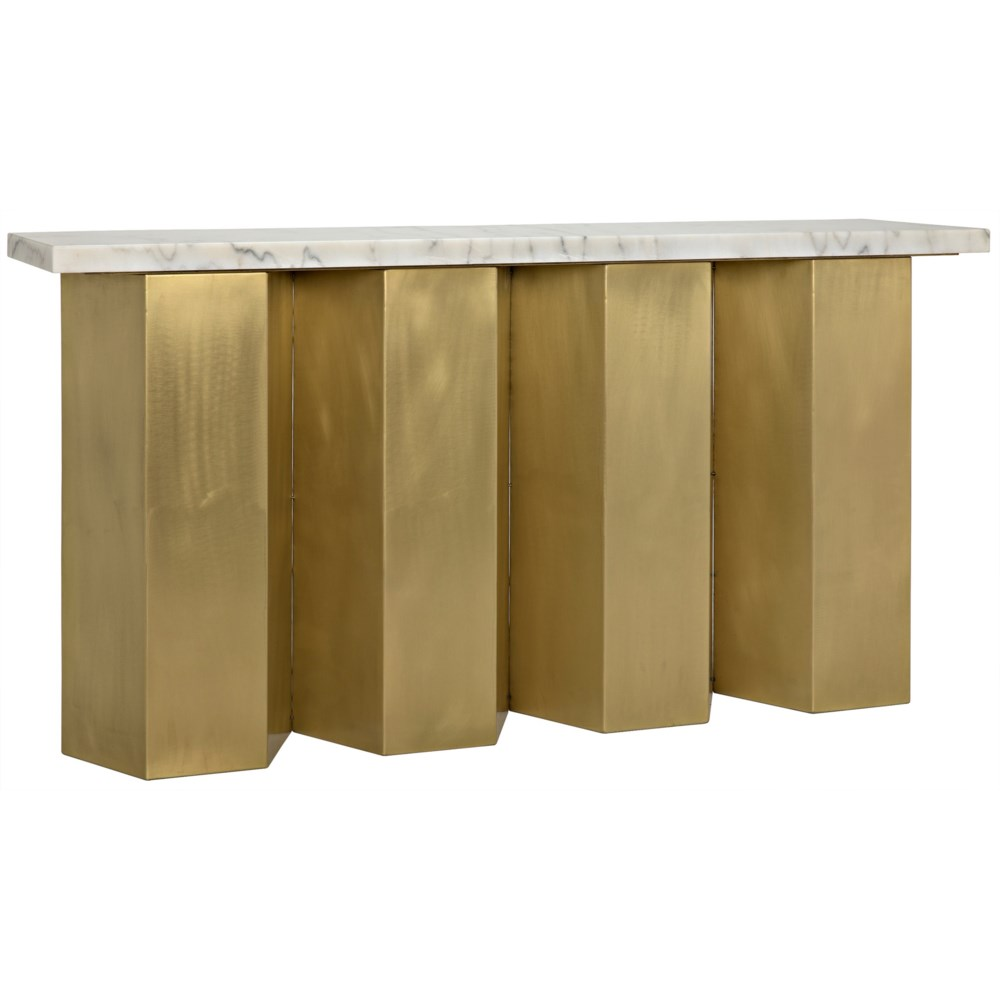 Shilo Console, Steel and White Marble