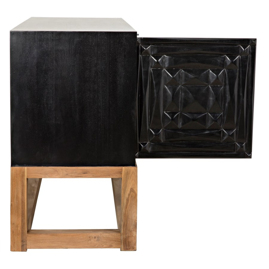 Oliver Sideboard, Hand Rubbed Black with Teak Base