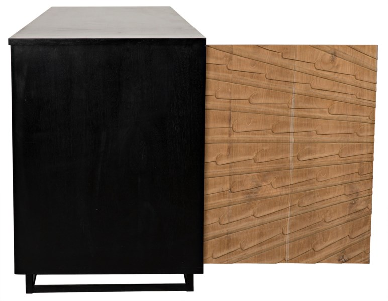 QS Ra Sideboard, Hand Rubbed Black with Teak