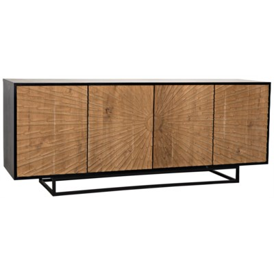 Ra Sideboard, Hand Rubbed Black with Teak