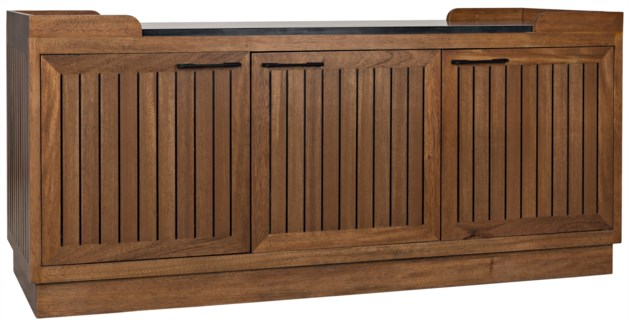 Spago Sideboard W/Stone Top, Dark Walnut