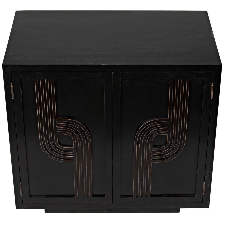 Deco 2 Door Sideboard, Hand Rubbed Black with Gold
