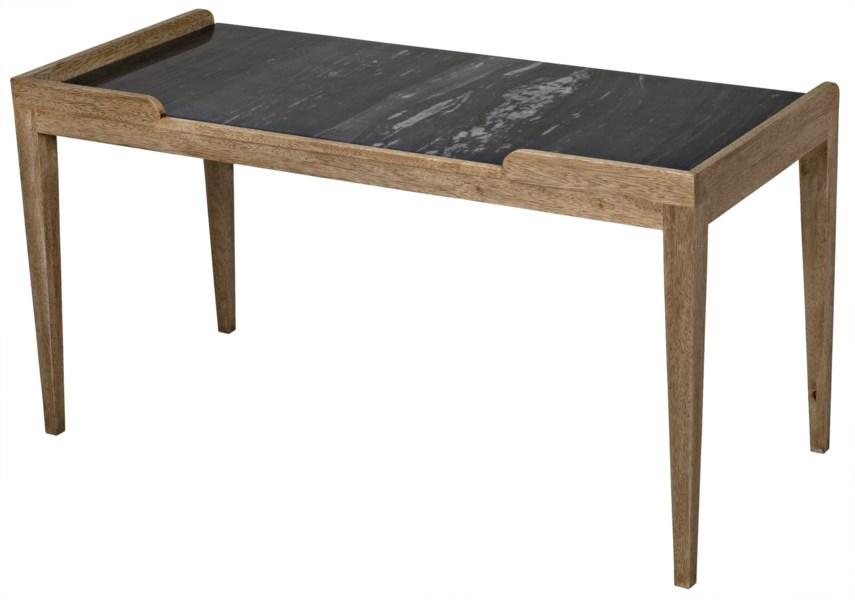 Wod Ward Desk, Bleached Walnut with Stone Top