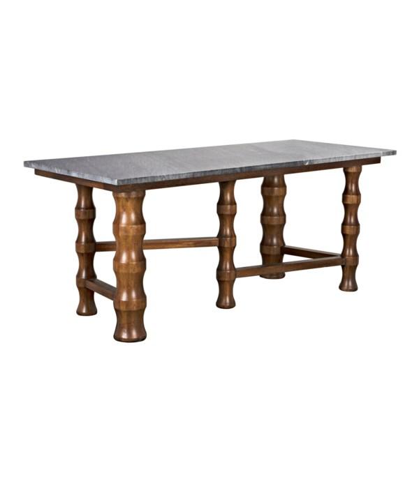 Creo Desk with Black Marble Top, Dark Walnut