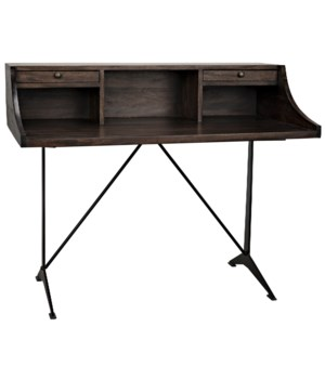 Croft Desk w/Metal, Ebony Walnut