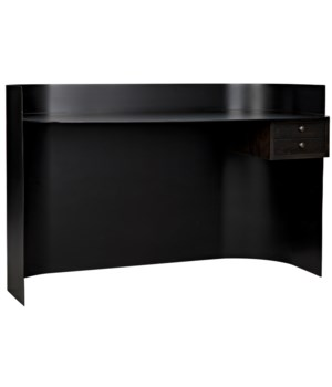 Scarlett Desk, Black Metal w/Ebony Walnut Drawers