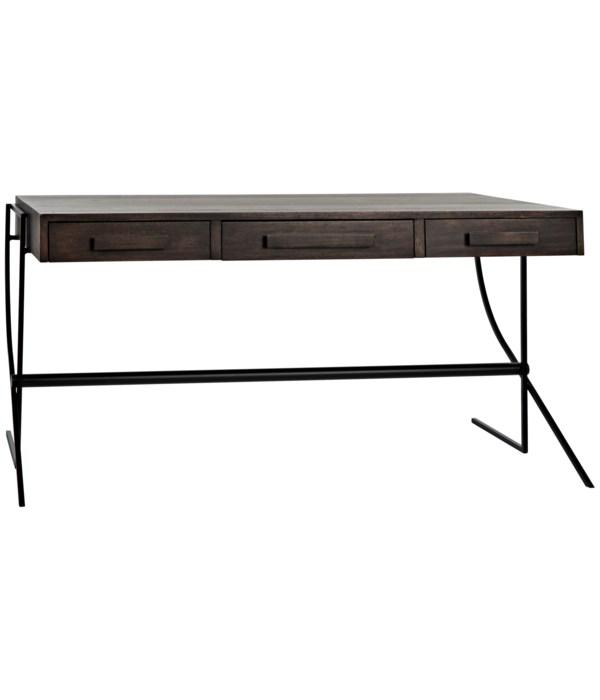 Frank Desk, Ebony Walnut with Steel