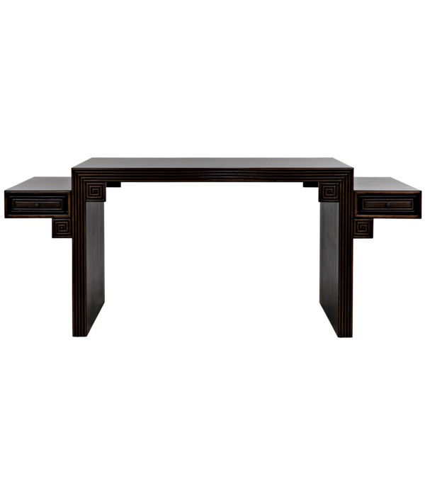 Barzini Desk, Hand Rubbed Black with Light Brown Trim