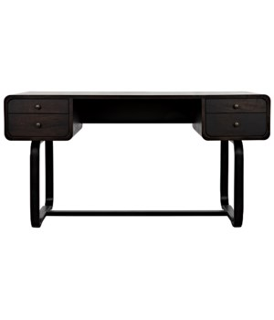 Voltes Desk, Ebony Walnut w/Black Metal