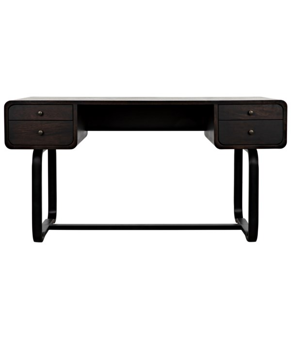 Voltes Desk, Ebony Walnut with Black Steel