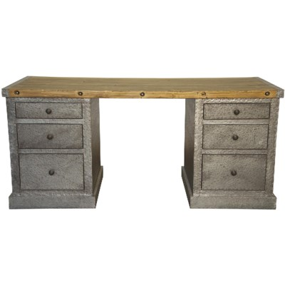 Zinc Desk with Old Wood Top