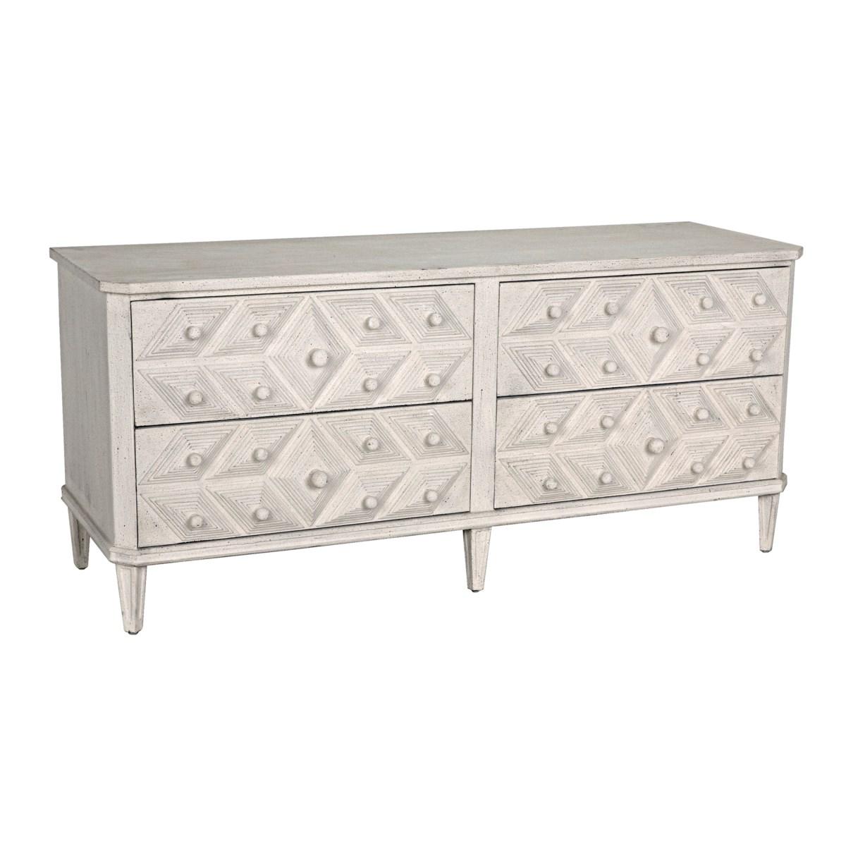Giza 4 Drawer Dresser, White Weathered