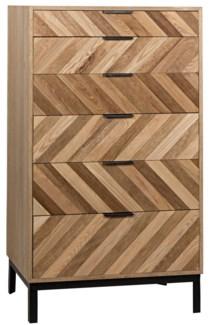 Herringbone 6 Drawer Tall Sideboard