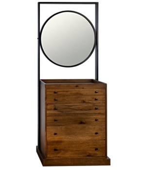 Luna Piena Chest with Mirror, Dark Walnut