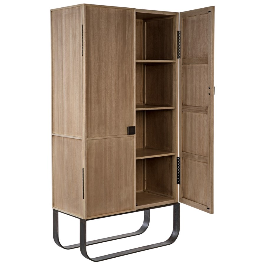 Quinn Hutch with Metal Base, Washed Walnut