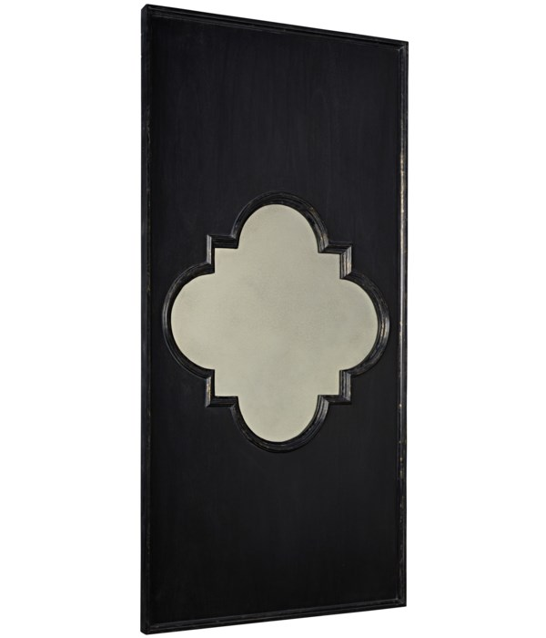 Good Luck Mirror, Hand Rubbed Black with Gold Trim