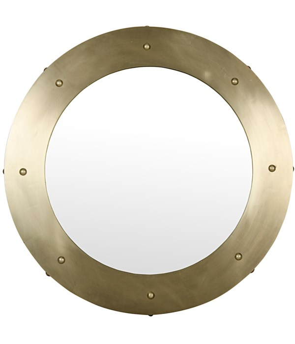 Clay Mirror, Large, Metal with Brass Finish