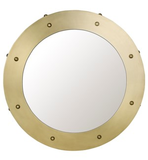 Clay Mirror, Small, Metal with Brass Finish