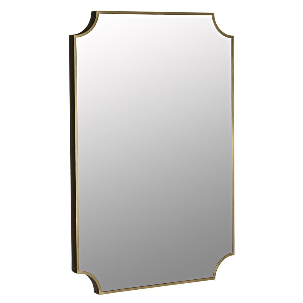 Convexed Mirror, Steel, Antique Brass
