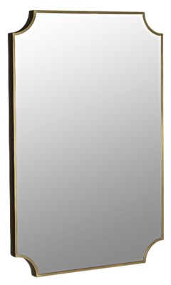 Convexed Mirror, Metal w/Brass Finish